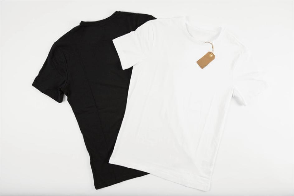 黒と白のtシャツ画像